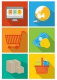 Grupo do ícone da relação da codificação e da Web Imagens de Stock