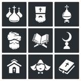 Grupo do ícone da religião Fotografia de Stock