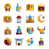 Grupo do ícone da religião ilustração do vetor