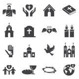 Grupo do ícone da religião da cristandade Fotos de Stock Royalty Free