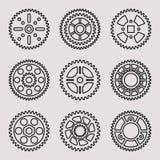 Grupo do ícone da roda de engrenagem Linha fina vetor Fotografia de Stock