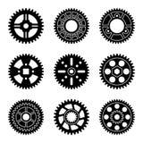 Grupo do ícone da roda de engrenagem Vetor liso da silhueta Imagem de Stock Royalty Free