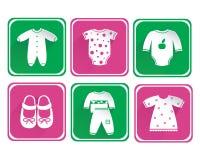 Grupo do ícone da roupa do bebê Imagens de Stock Royalty Free