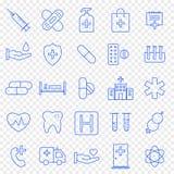 Grupo do ícone da saúde e da medicina 25 ícones do vetor embalam ilustração royalty free