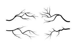 Grupo do ícone da silhueta do ramo, símbolo, projeto Ilustração do vetor isolada Fotografia de Stock