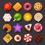 Grupo do ícone da sobremesa ilustração stock