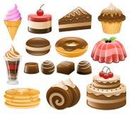 Grupo do ícone da sobremesa, doces, confeitos Fotografia de Stock Royalty Free