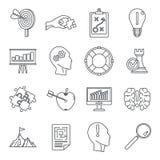 Grupo do ícone da solução do problema, estilo do esboço ilustração stock