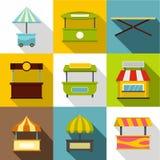 Grupo do ícone da tenda de rua, estilo liso ilustração royalty free