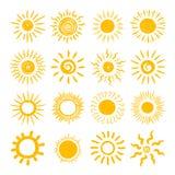 Grupo do ícone da tração da mão de Sun Foto de Stock