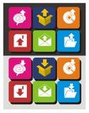 Grupo do ícone da transferência de arquivo pela rede e da transferência Fotos de Stock Royalty Free