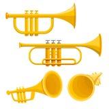 Grupo do ícone da trombeta, estilo dos desenhos animados ilustração stock
