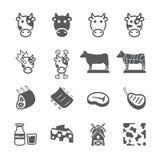 Grupo do ícone da vaca ilustração stock