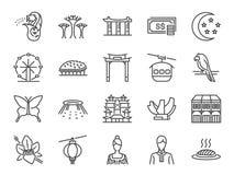 Grupo do ícone da viagem de Singapura Incluiu os ícones como Merlion, inseto de Singapura, esplanada, jardins botânicos, jardim d Foto de Stock