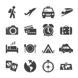 Grupo do ícone da viagem e do transporte, vetor eps10 Fotografia de Stock