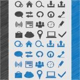 Grupo do ícone da Web para seu projeto estilo do esboço azul e preto Fotografia de Stock