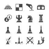Grupo do ícone da xadrez ilustração stock