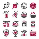 Grupo do ícone das beterrabas ilustração royalty free