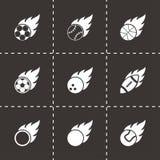Grupo do ícone das bolas do esporte do arquivo do preto do vetor Foto de Stock