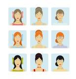 Grupo do ícone das caras da menina Fotos de Stock