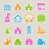 Grupo do ícone das construções Fotografia de Stock Royalty Free