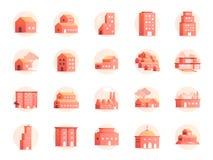 Grupo do ícone das cores da propriedade Incluiu os ícones como a casa, casa, hotel, recurso, construção e mais ilustração royalty free