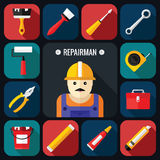 Grupo do ícone das ferramentas com reparador em um projeto liso Imagens de Stock Royalty Free