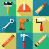 Grupo do ícone das ferramentas para o reparo em um projeto liso Fotografia de Stock