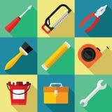 Grupo do ícone das ferramentas para o reparo em um projeto liso Fotos de Stock Royalty Free