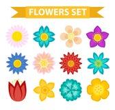Grupo do ícone das flores e das folhas, estilo liso Coleção floral isolada no fundo branco Mola, elementos do projeto do verão Imagens de Stock Royalty Free
