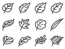 Grupo do ícone das folhas Linha estilo lisa ilustração royalty free