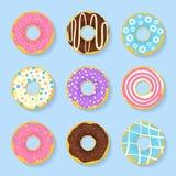 Grupo do ícone de anéis de espuma doces, saborosos no esmalte Fotografia de Stock
