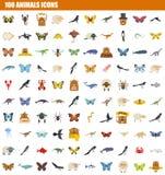 grupo do ícone de 100 animais, estilo liso ilustração do vetor