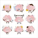 Grupo do ícone de Brain Different Activities And Emoticons ilustração stock