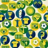 Grupo do ícone de Brasil Teste padrão sem emenda Fotos de Stock
