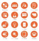 Grupo do ícone de carreira do negócio, introduzindo no mercado no projeto liso Imagens de Stock Royalty Free
