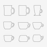 Grupo do ícone de copos Imagem de Stock Royalty Free