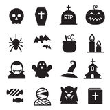 Grupo do ícone de Dia das Bruxas Ilustração do Vetor