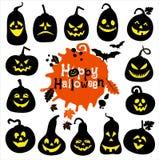 Grupo do ícone de Dia das Bruxas de abóboras alegres Grupo de ícone Foto de Stock