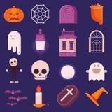 Grupo do ícone de Dia das Bruxas no projeto liso ilustração do vetor