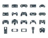 Grupo do ícone de Gamepad do preto da silhueta dos desenhos animados Vetor ilustração royalty free