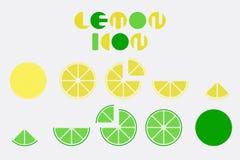 Grupo do ícone de gráfico do limão com projeto da forma circular ilustração do vetor