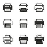 Grupo do ícone de impressora Imagem de Stock Royalty Free