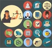 Grupo do ícone de justiça Fotos de Stock Royalty Free