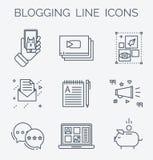 Grupo do ícone de mercado blogging e social dos meios Imagens de Stock