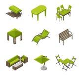 Grupo do ícone de mobília do jardim no estilo isométrico ilustração royalty free