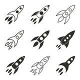 Grupo do ícone de Rocket Foto de Stock