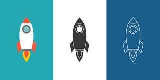 Grupo do ícone de Rocket ilustração do vetor