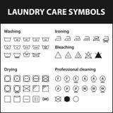 Grupo do ícone de símbolos da lavanderia Símbolos de lavagem da instrução O pano, cuidado de matéria têxtil assina a coleção Imagem de Stock