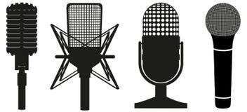 Grupo do ícone de silhueta preta dos microfones Imagem de Stock